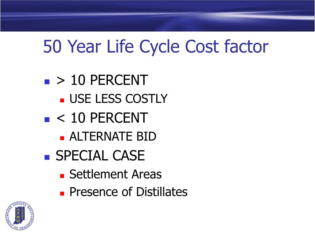 50 Year Life Cycle Cost factor