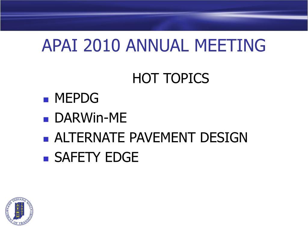 APAI 2010 ANNUAL MEETING