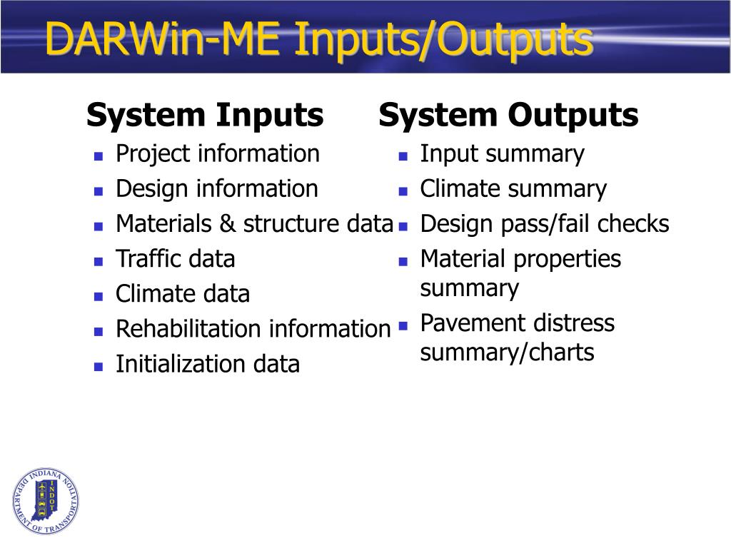 DARWin-ME Inputs/Outputs
