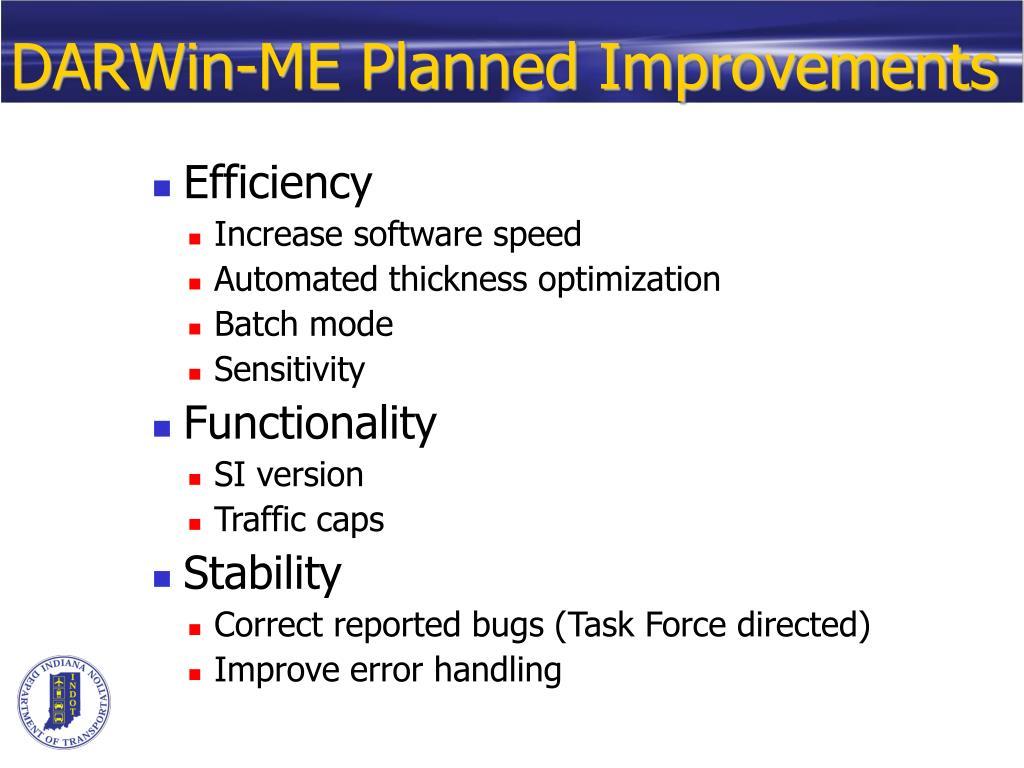 DARWin-ME Planned Improvements
