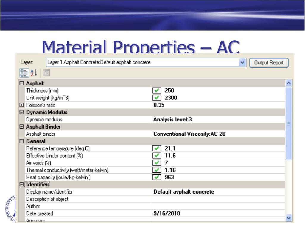 Material Properties – AC