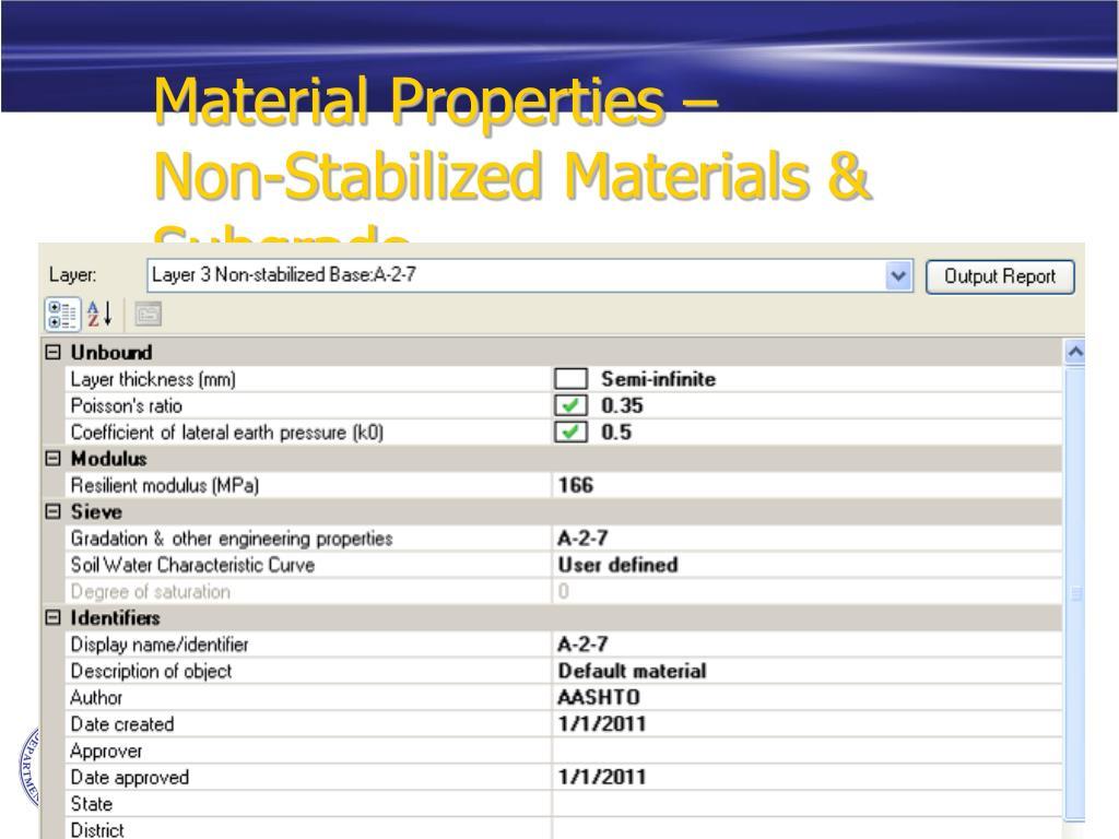 Material Properties –