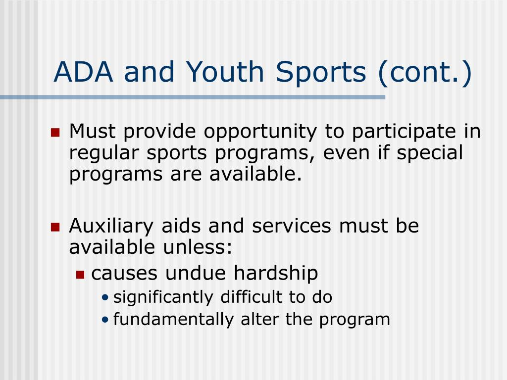 ADA and Youth Sports (cont.)
