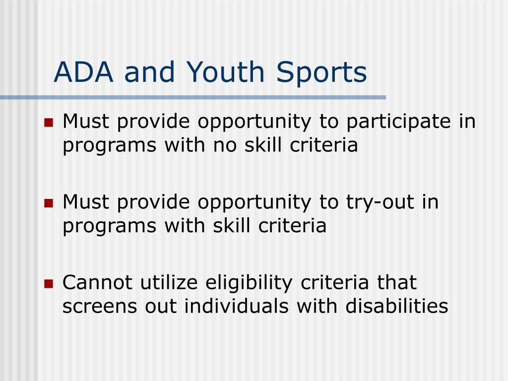 ADA and Youth Sports
