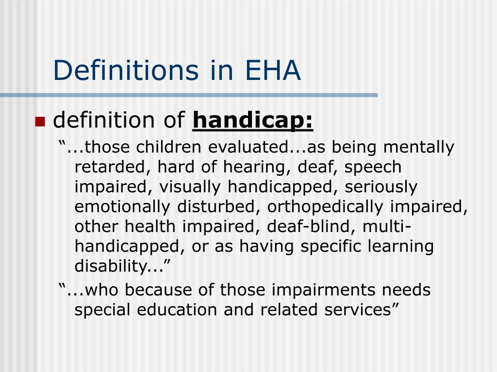 Definitions in EHA