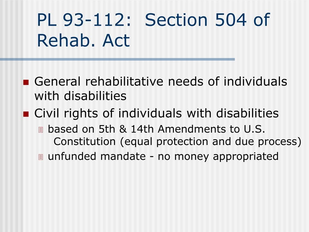 PL 93-112:  Section 504 of Rehab. Act