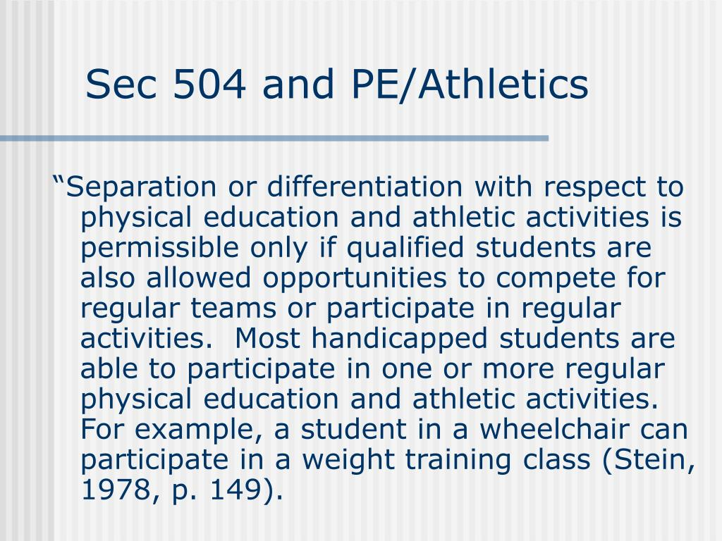 Sec 504 and PE/Athletics