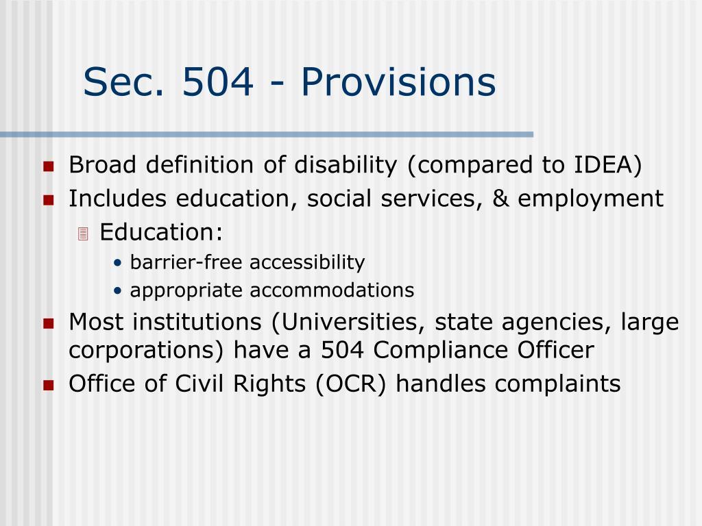 Sec. 504 - Provisions