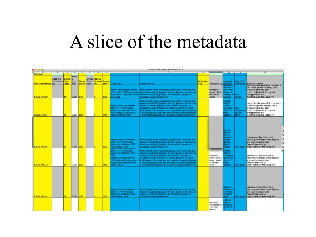 A slice of the metadata