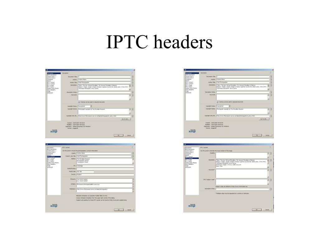 IPTC headers