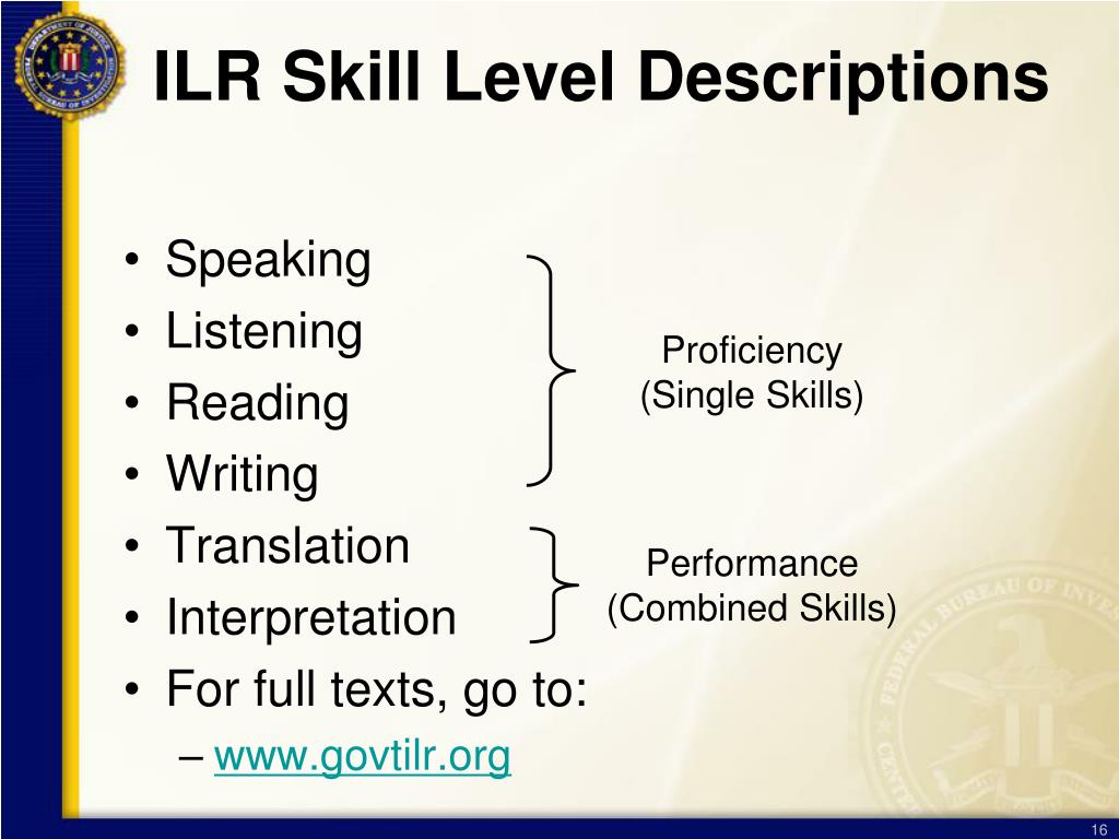 ILR Skill Level Descriptions