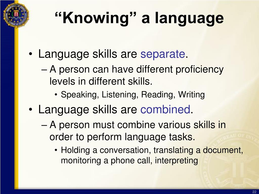 """Knowing"" a language"