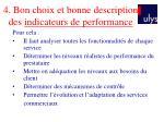 4 bon choix et bonne description des indicateurs de performance