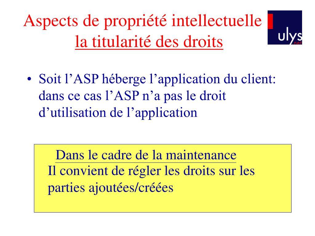 Aspects de propriété intellectuelle :