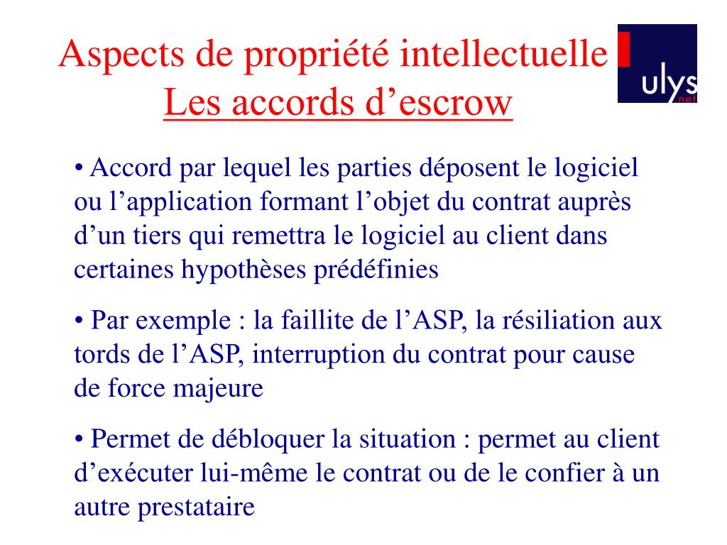 Aspects de propriété intellectuelle