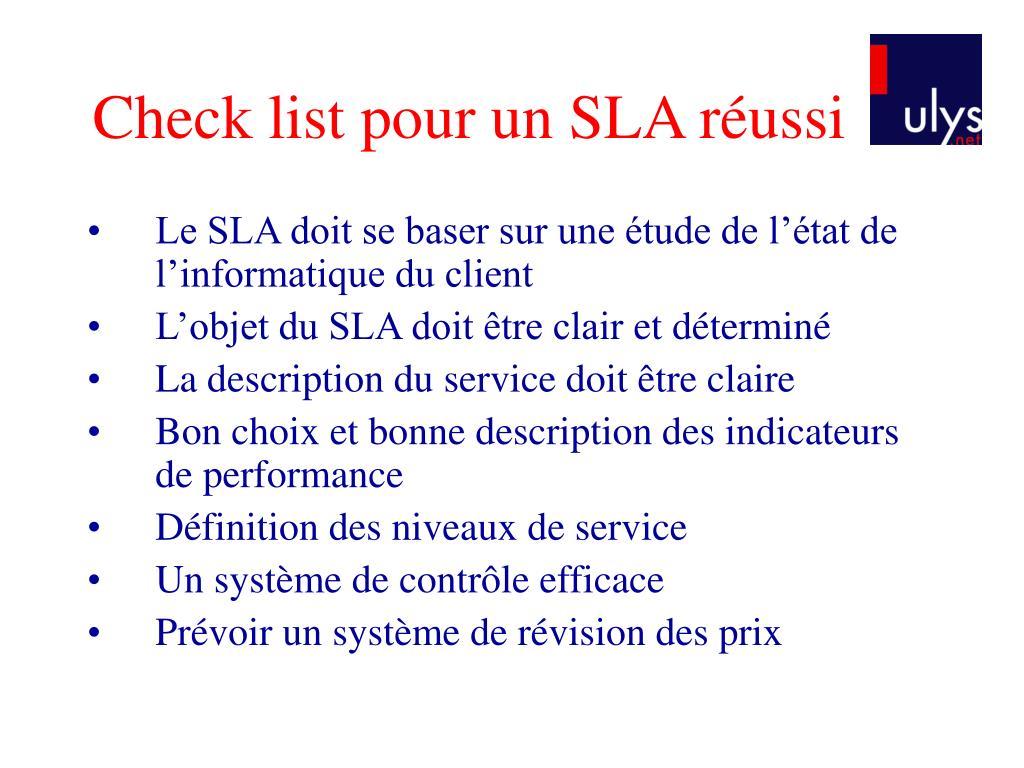 Check list pour un SLA réussi