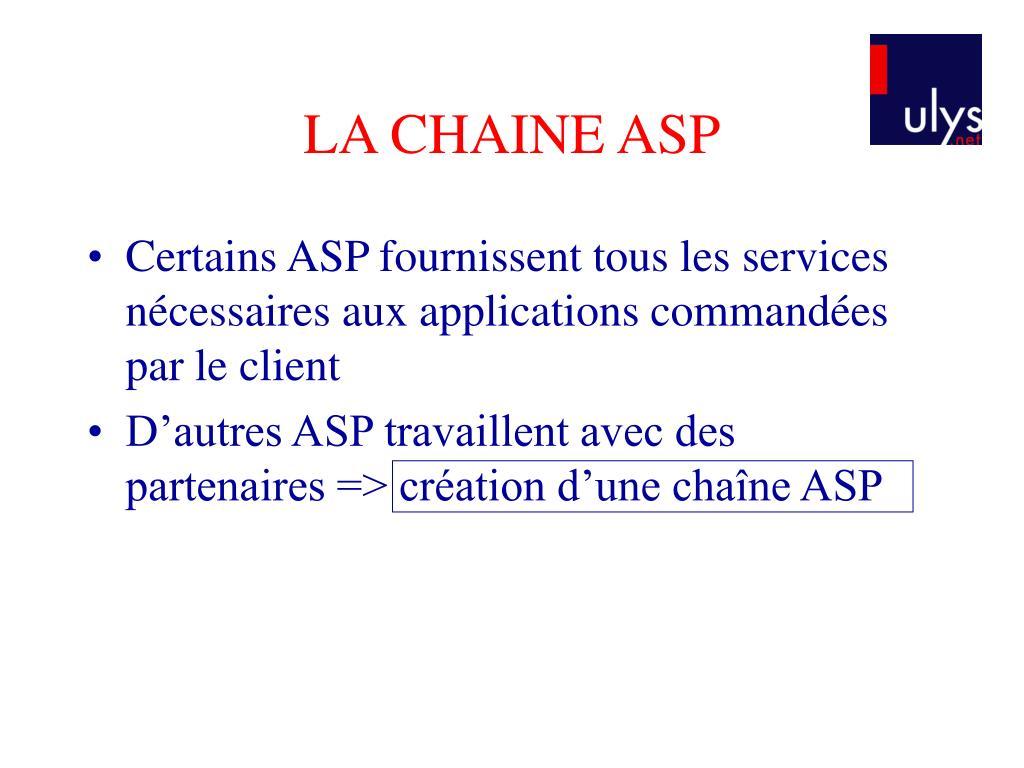 LA CHAINE ASP