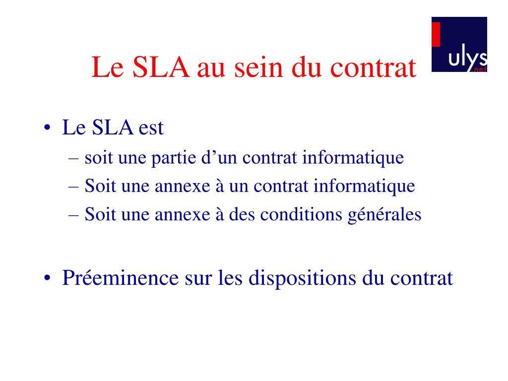 Le SLA au sein du contrat