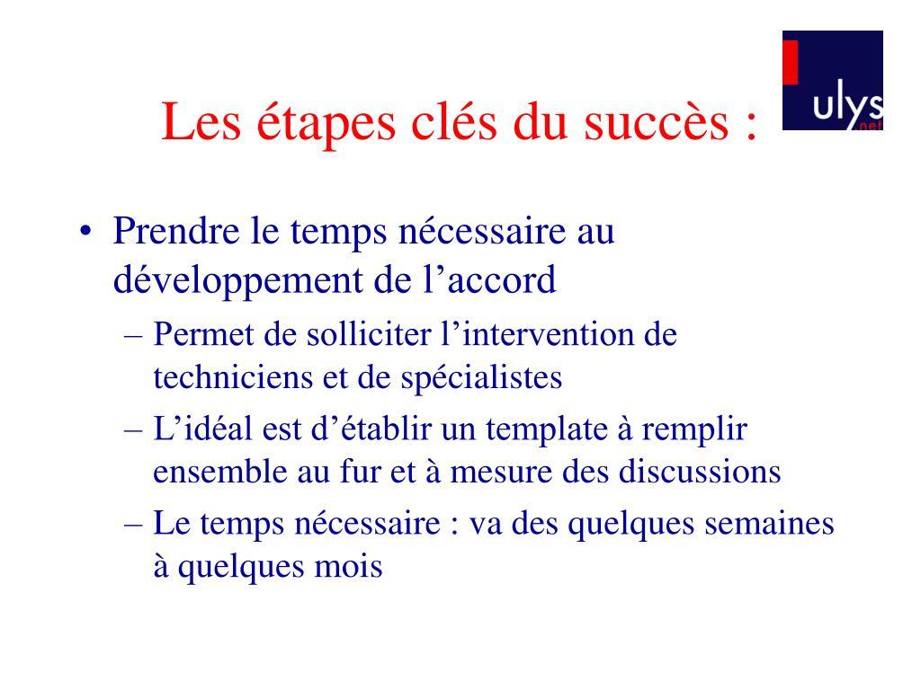 Les étapes clés du succès :