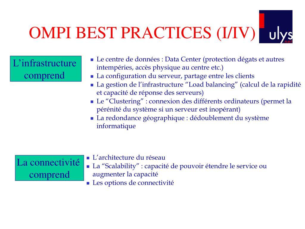 OMPI BEST PRACTICES (I/IV)