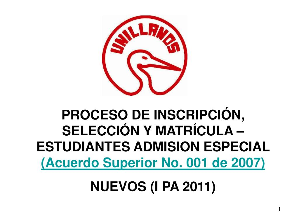 PROCESO DE INSCRIPCIÓN, SELECCIÓN Y MATRÍCULA – ESTUDIANTES ADMISION ESPECIAL