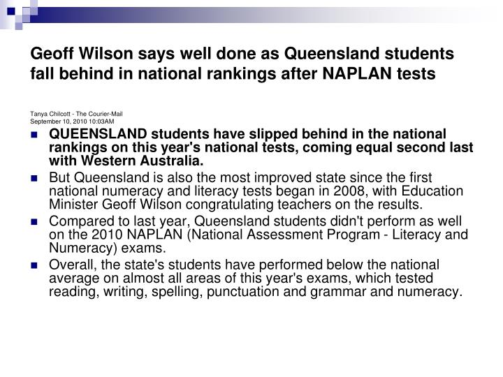 Geoff Wilson says well done as Queensland students fall behind in national rankings after NAPLAN tes...