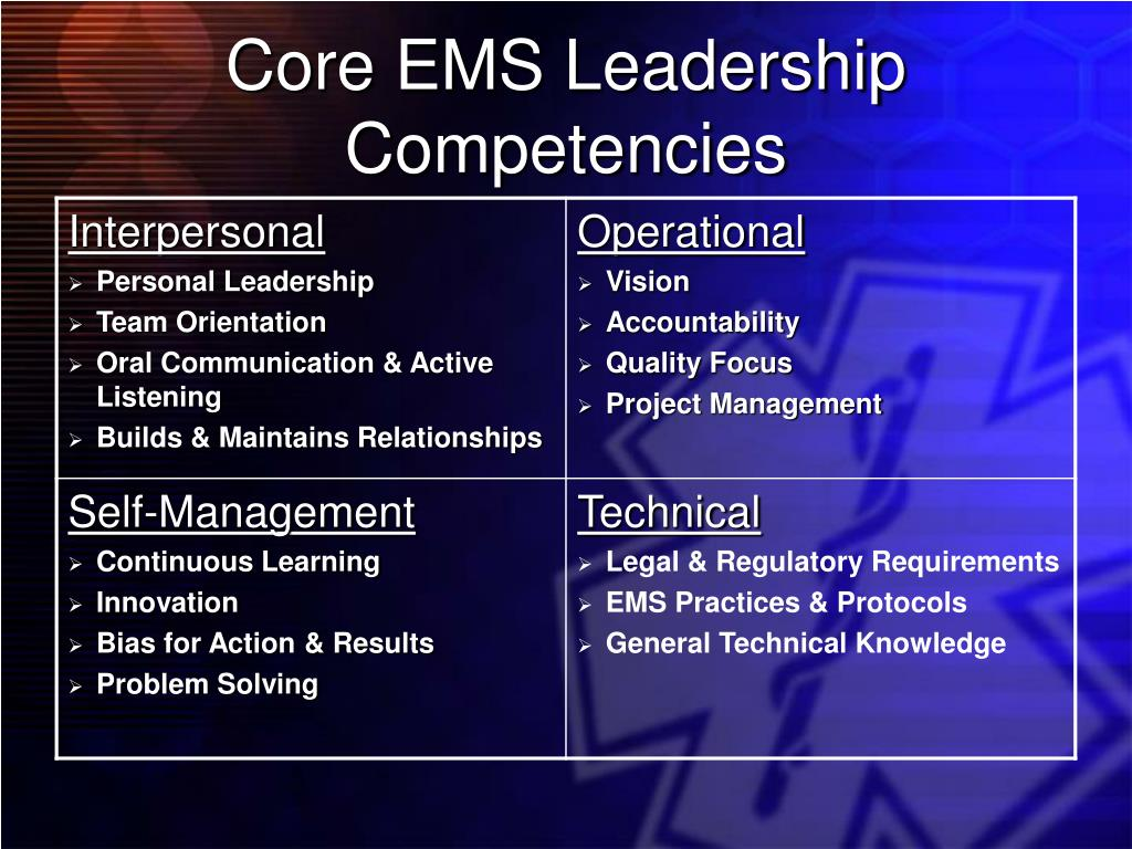 Core EMS Leadership Competencies
