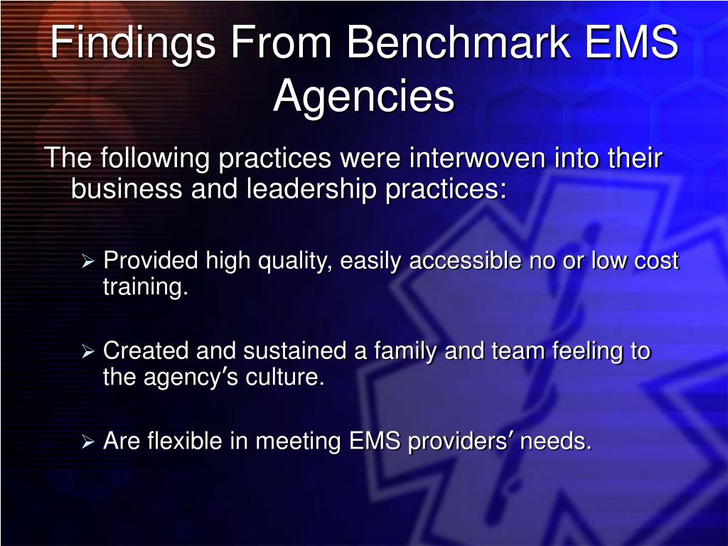 Findings From Benchmark EMS Agencies