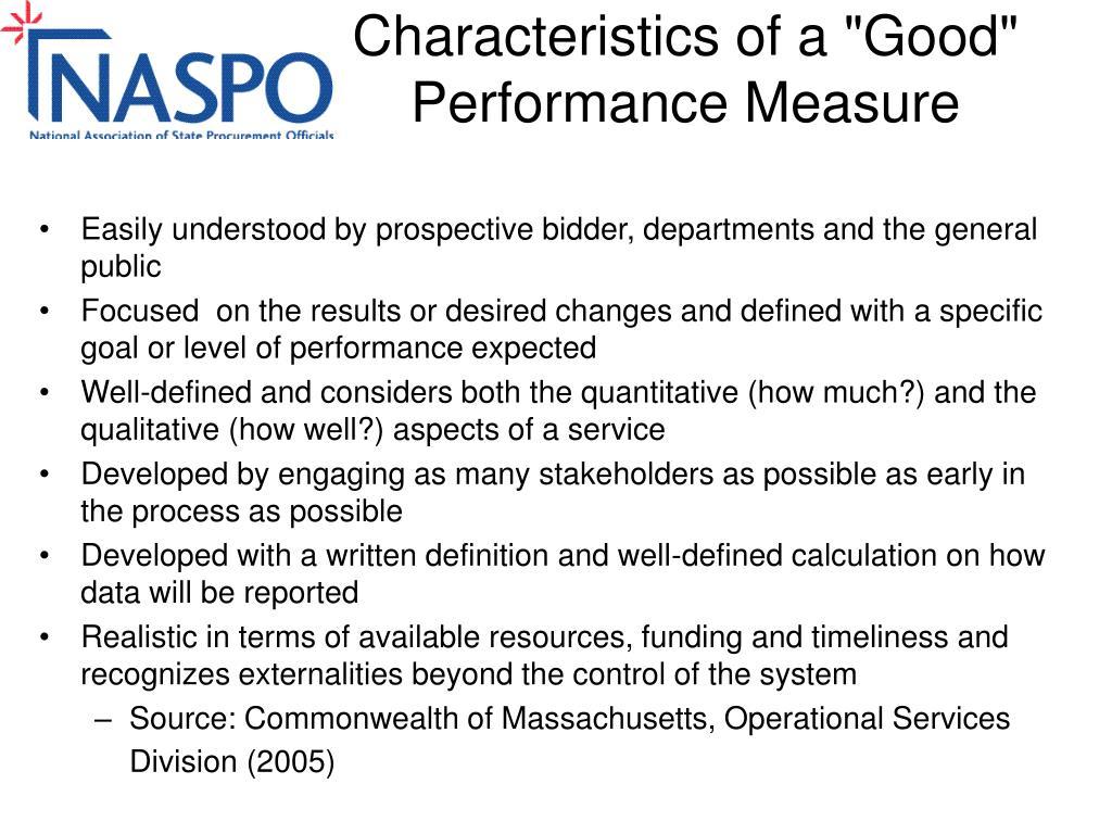 "Characteristics of a ""Good"" Performance Measure"
