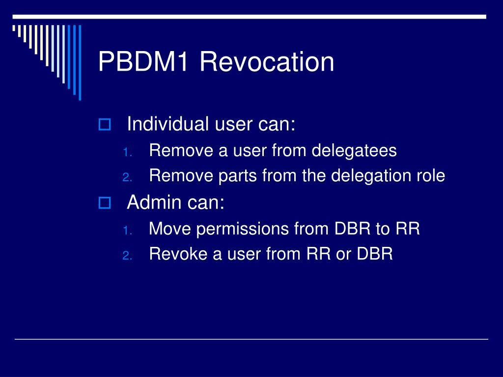 PBDM1 Revocation