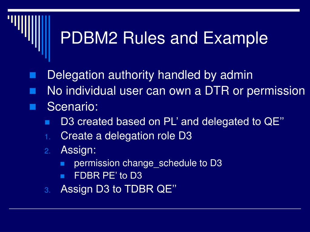 PDBM2 Rules and Example