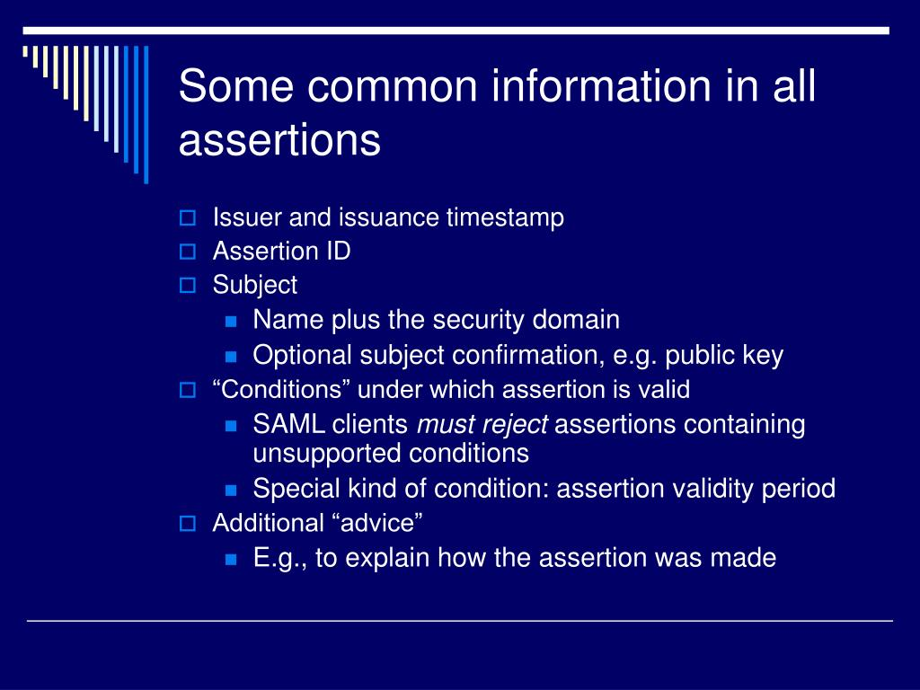 Some common information in all assertions