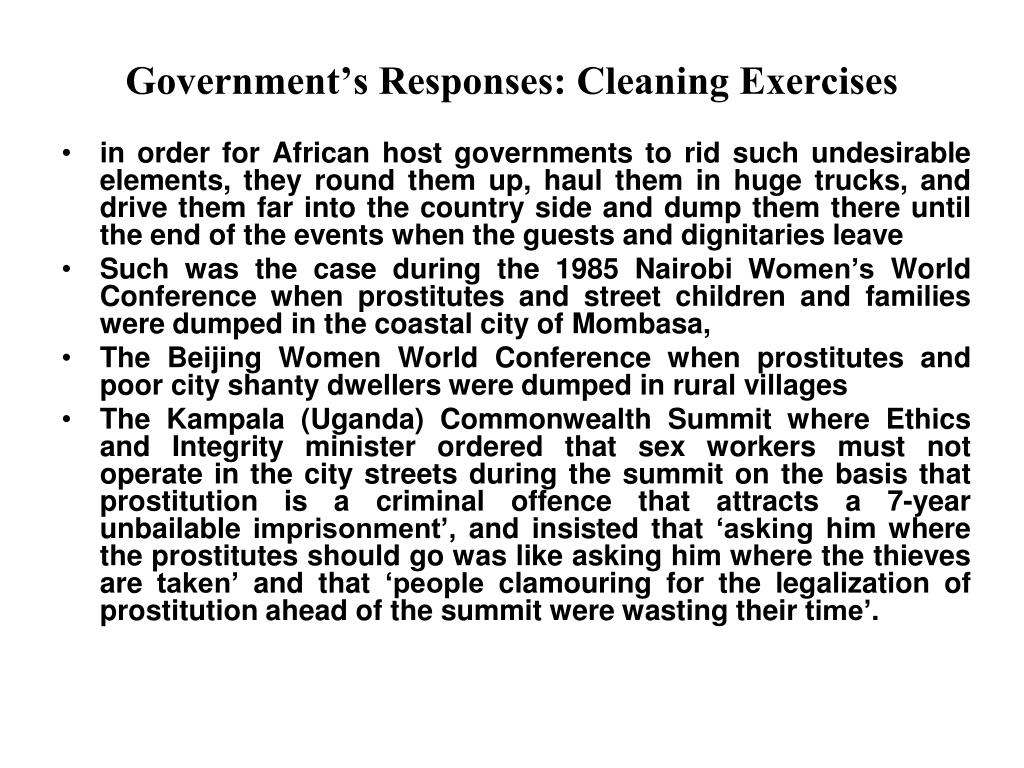 Government's Responses: Cleaning Exercises