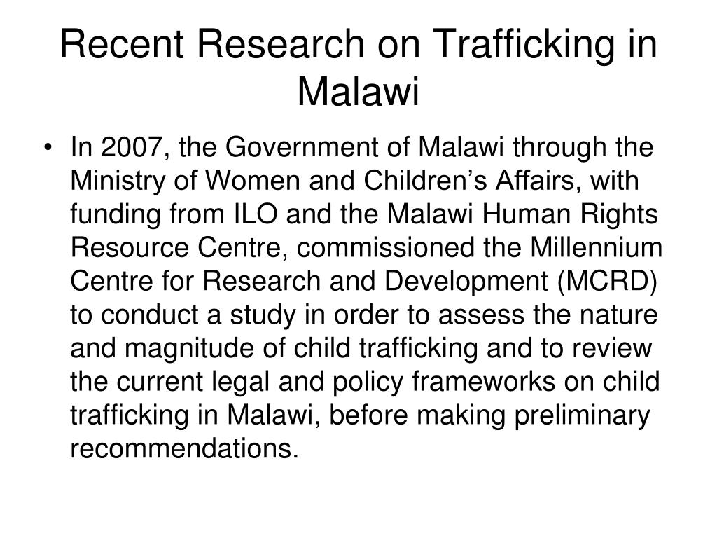 Recent Research on Trafficking in Malawi