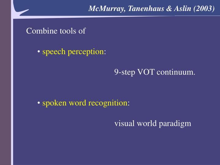 McMurray, Tanenhaus & Aslin (2003)