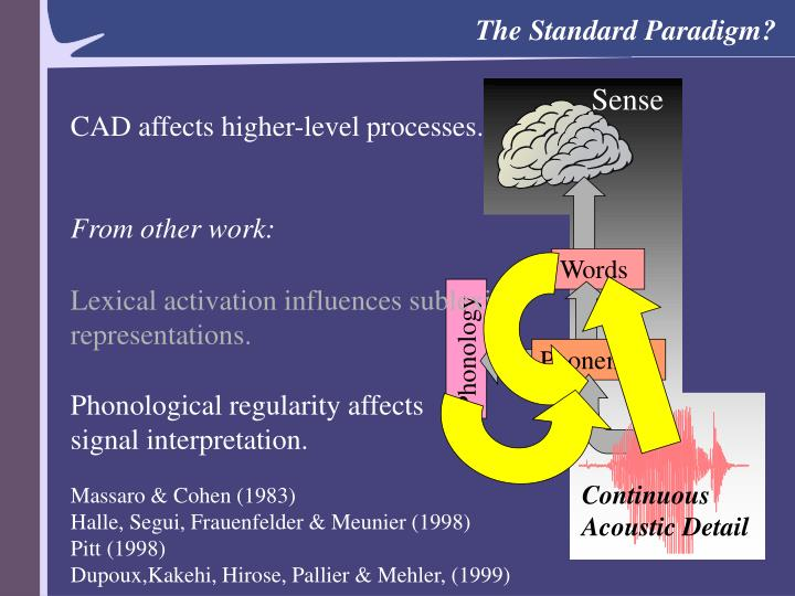 CAD affects higher-level processes.