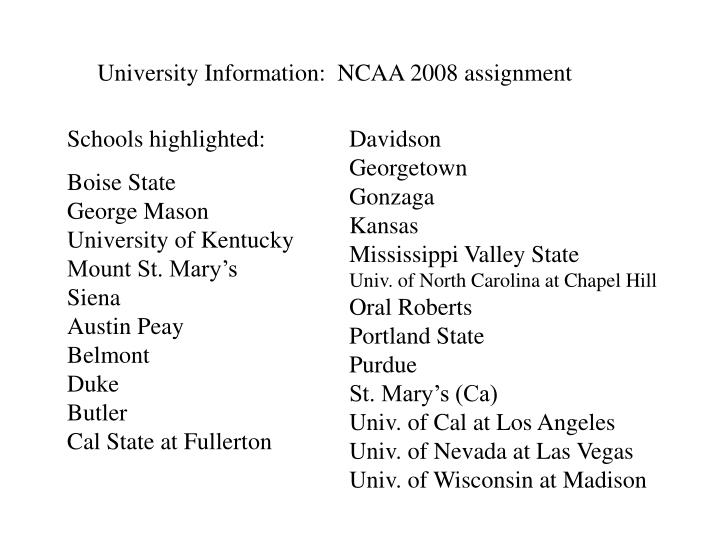 University Information:  NCAA 2008 assignment