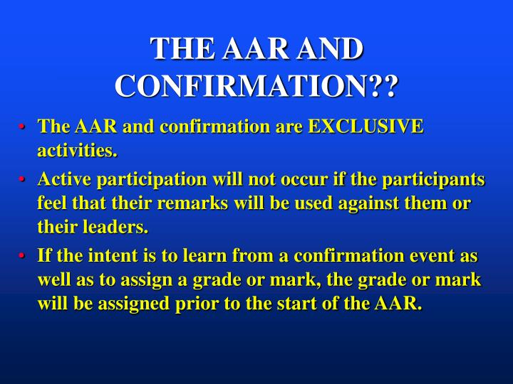 THE AAR AND CONFIRMATION??