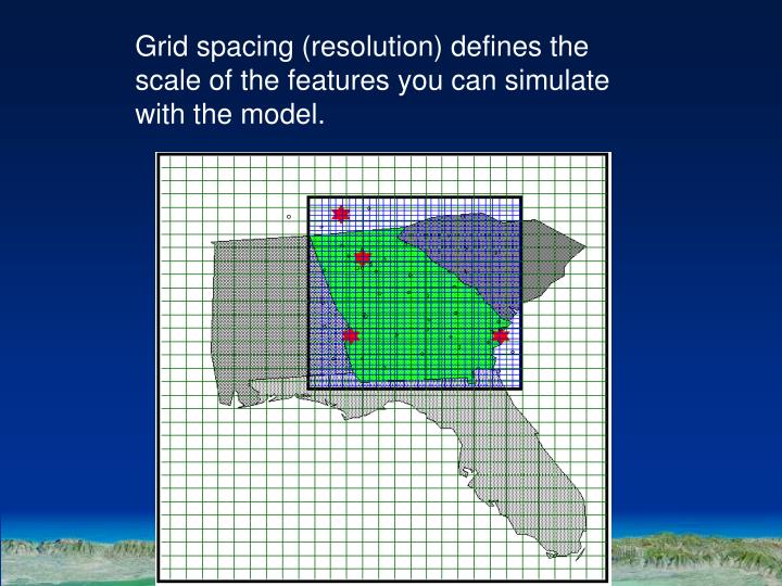 Grid spacing (resolution) defines the scale of the features you can simulate with the model.