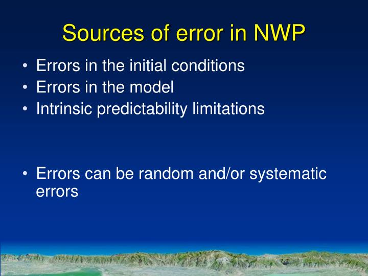 Sources of error in NWP