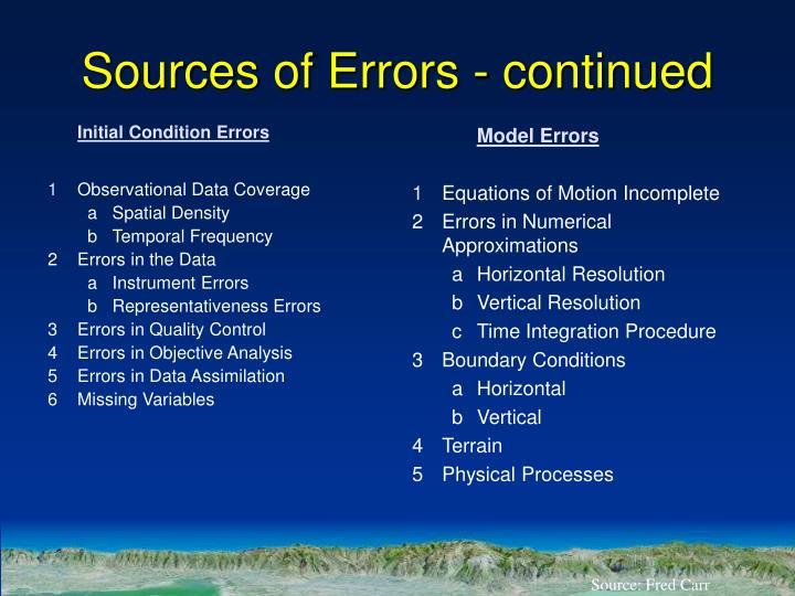 Initial Condition Errors