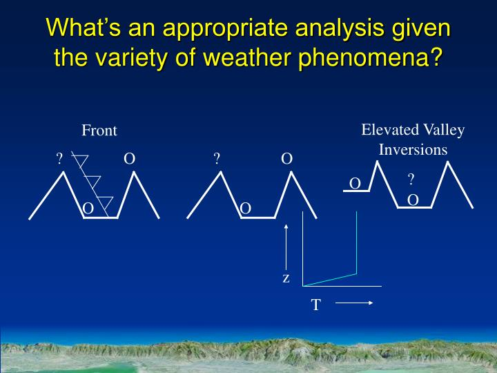 What's an appropriate analysis given the variety of weather phenomena?