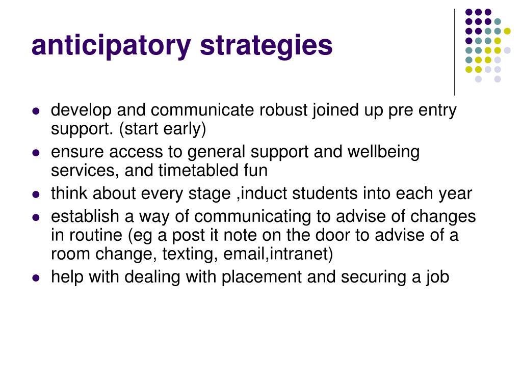 anticipatory strategies