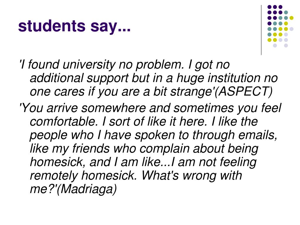 students say...