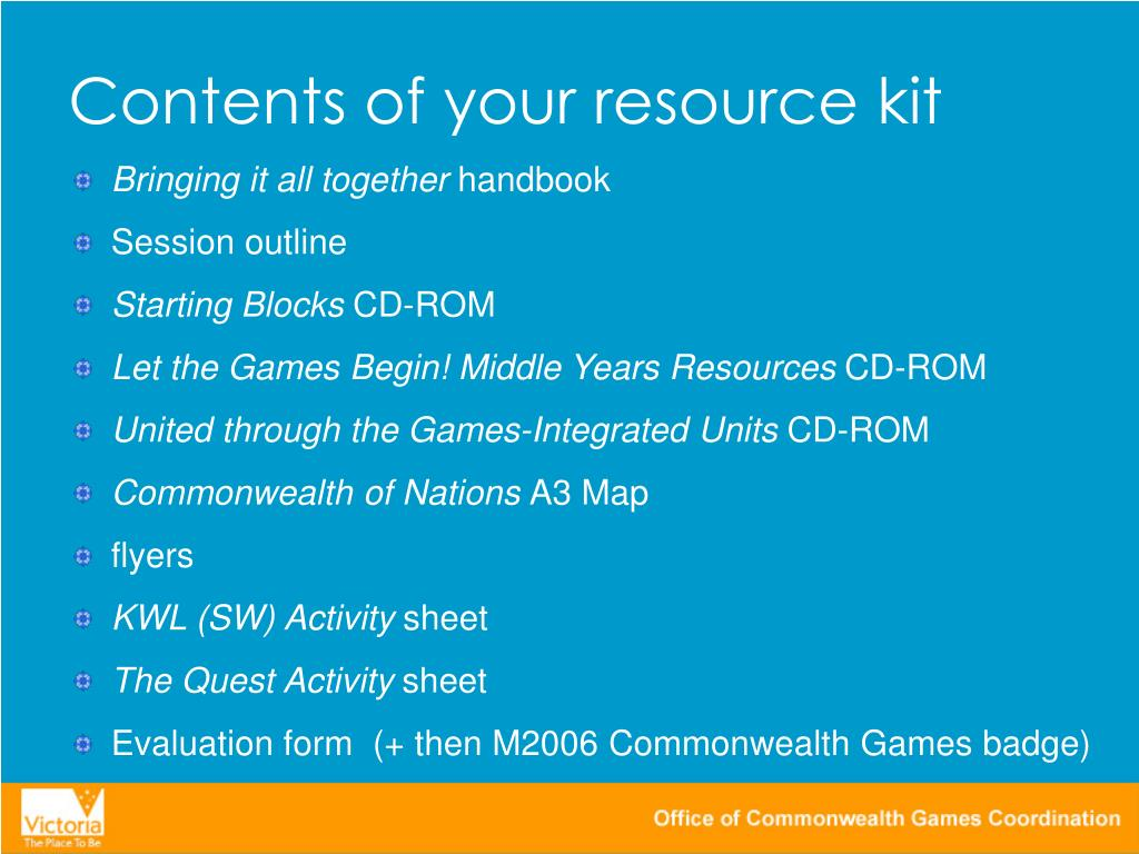 Contents of your resource kit