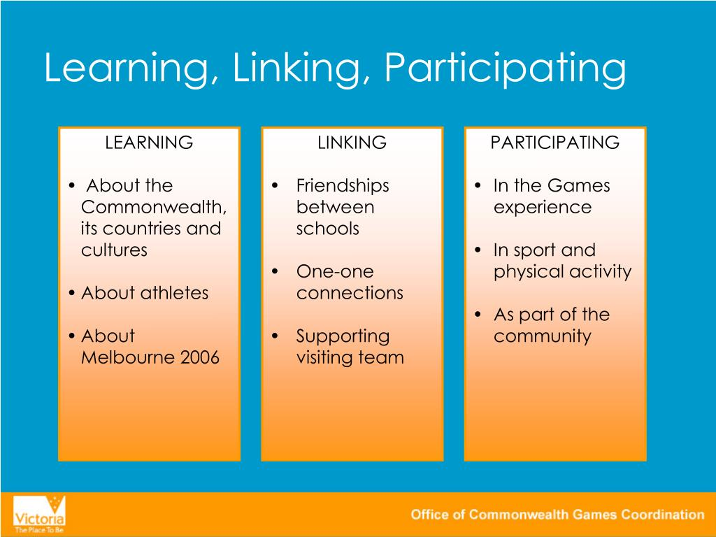 Learning, Linking, Participating