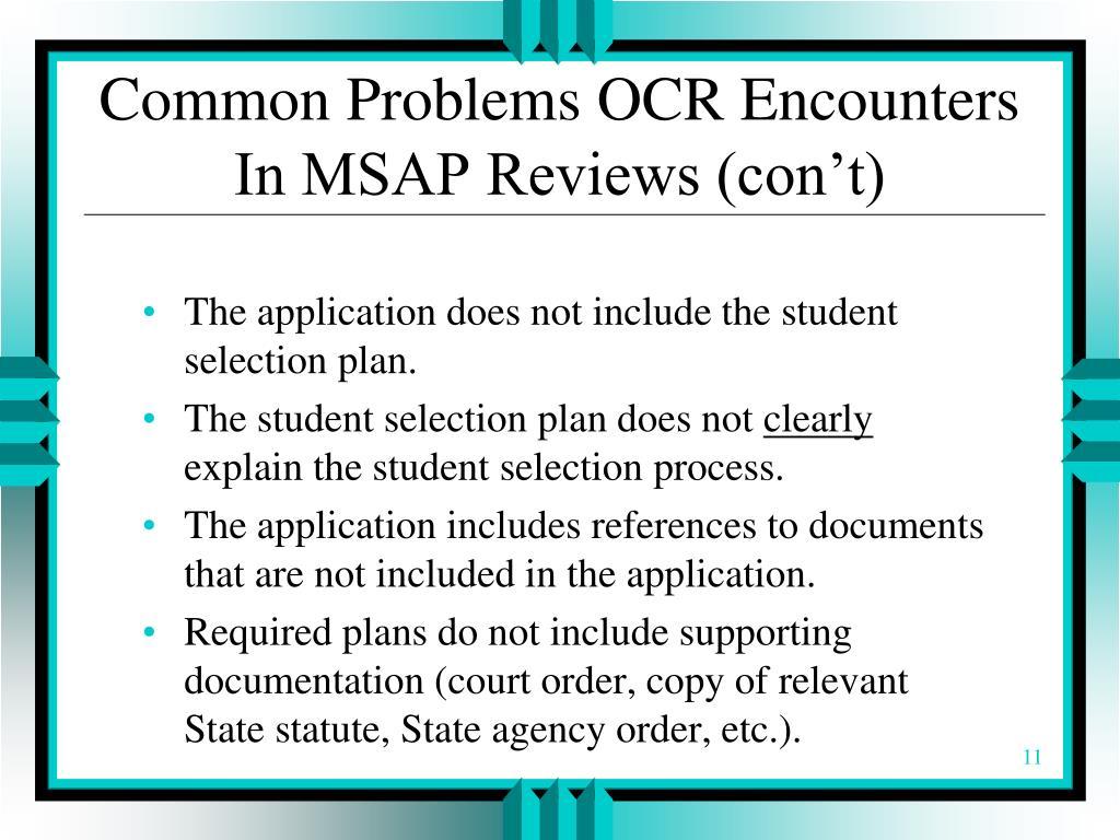 Common Problems OCR Encounters In MSAP Reviews (con't)