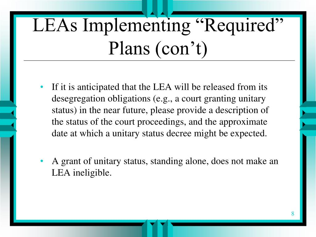 """LEAs Implementing """"Required"""" Plans (con't)"""