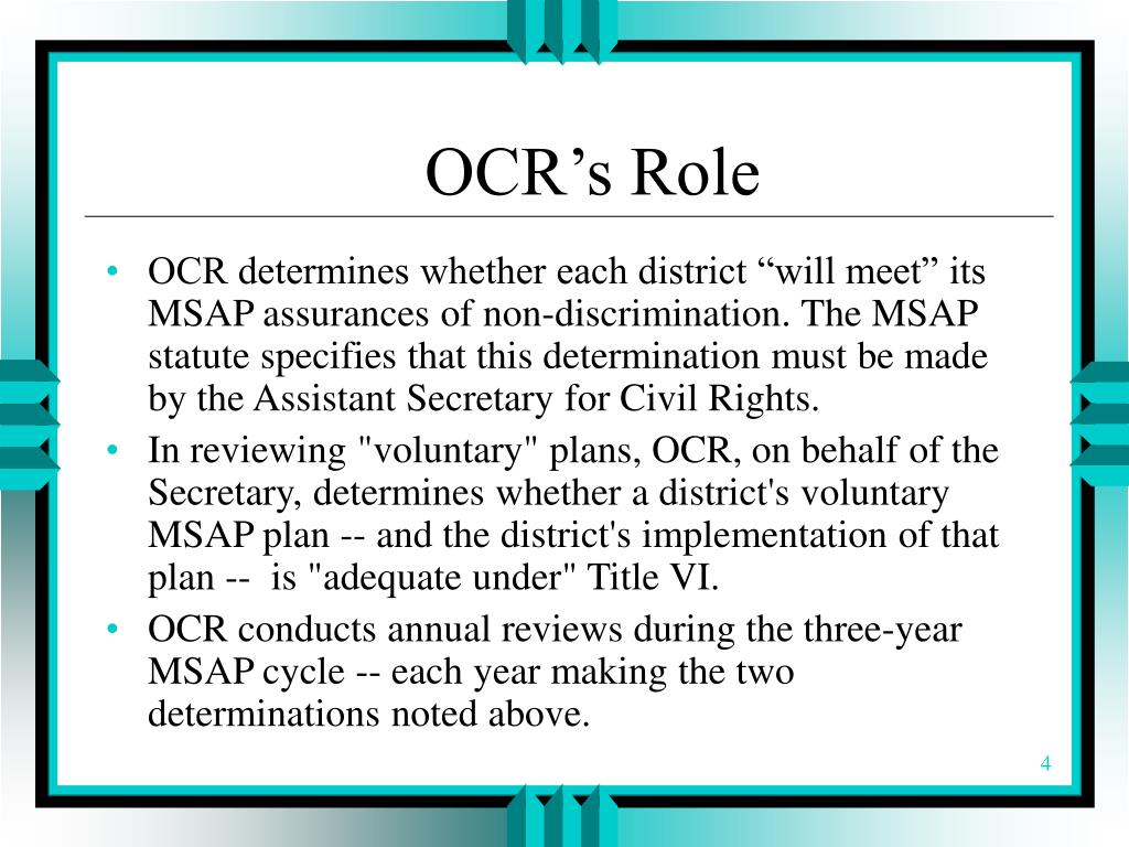 OCR's Role