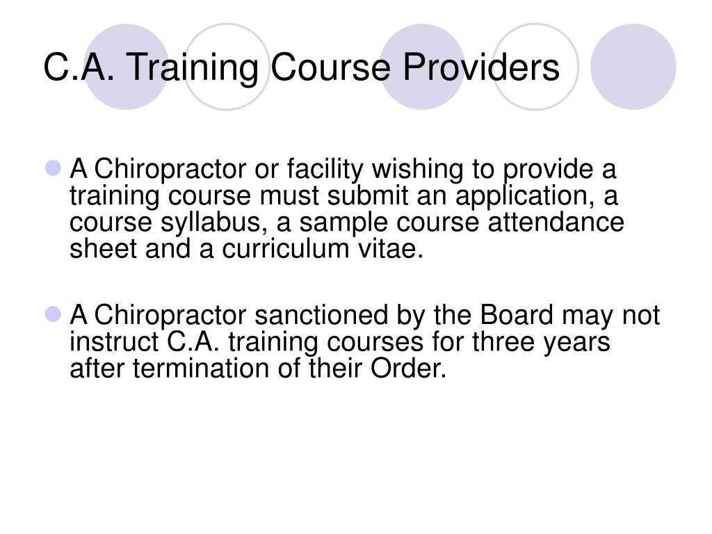 C.A. Training Course Providers